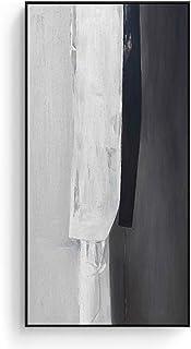 Tableau à suspendre pour entrée verticale - Grande allée - Peinture abstraite - Noir et blanc gris - Durable (couleur : A,...