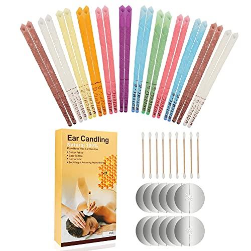 Lishang 24 Stück Natürliche Ohrkerzen Bienenwachs Ohrenschmalz Kerze Ohrenschmalz Entferner Kerzen mit 12 Schutzscheiben für Entspannen Reinigen Geschenk