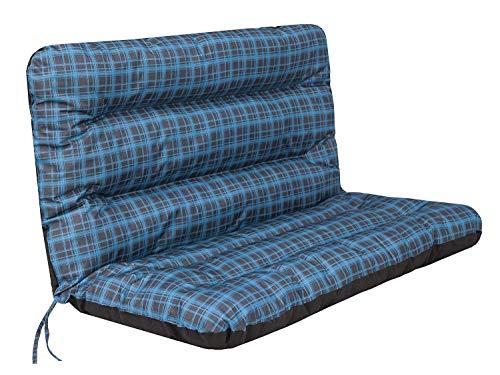 TS Tuinbankkussen, bankkussen, 150 x 60 x 50 cm, zitkussen, schommelbank 150 x 60 x 50cm blauw geruit