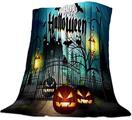 Manta ligera y suave para dormitorio universitario para sofá silla para todas las estaciones de Halloween, calabaza castillo de dibujos animados, 127 x 203 cm