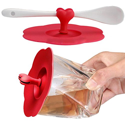 GoodLock Heart Silicone Leakproof Cup Cover Coffee Mug Suction Lid Cap Airtight Seal Cup Cover (red)