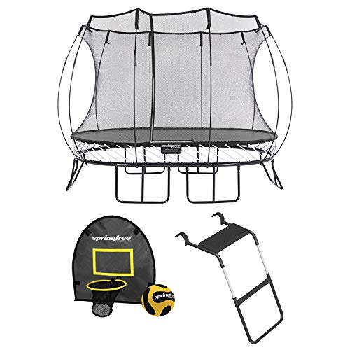 Springfree Outdoor 8 x 11 Foot Oval Jumping Trampoline with Net Enclosure, Basketball Hoop Game, and Step Ladder, Accessories for Backyard, Black