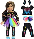 American Fashion World Electric Neon Skeleton Halloween Costume Made to fit 18 inch Dolls Such as American Girl Dolls