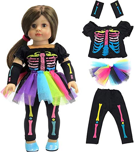 u s toy kids halloween costumes American Fashion World Electric Neon Skeleton Halloween Costume Made to fit 18 inch Dolls Such as American Girl Dolls