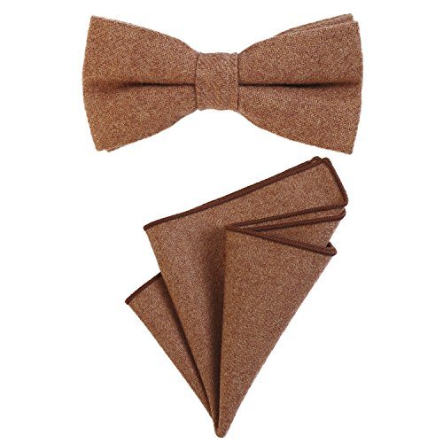 DonDon Herren Fliege 12 x 6 cm gebunden längenverstellbar und Einstecktuch 23 x 23 cm farblich passend aus Baumwolle hellbraun