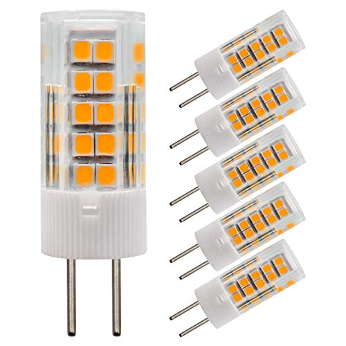 4W GY6.35 LED-Glühbirnen AC DC 12V JC Bi-Pin-Sockel Mini-Lampe Äquivalent 40W Halogen-Ersatzlampe Warmweiß 3000K Packung mit 5 Stück [MEHRWEG]