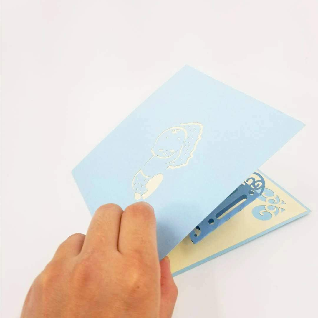 New Baby Card - Baby Shower Card, Baby Shower Greeting Card, New Baby Pop Up Card, Baby Shower Pop Up Card, Baby Crib Card   Pop Card Express (Baby Crib Pop Up Card (Blue))