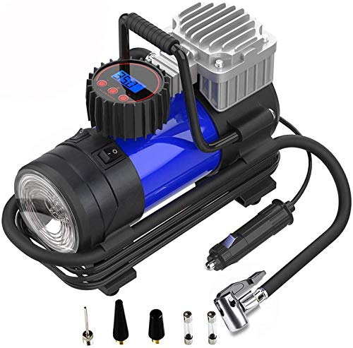 Deewin Digital Tire Inflator 12V DC Portable Air Compressor Pump with Led Flash Light for Car Truck Bike Motorcycle Ball Balloon Swimming Ring 140W 125PSI