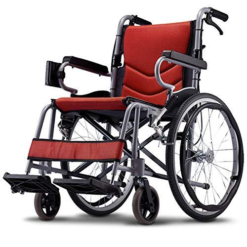 Onbekend draagbare zelfrijder rolstoel met rem, voetsteunen, armleuningen, klap lichte transit Travel Comfort rolstoel - weegt slechts 11 g voor een eenvoudige reis - rood