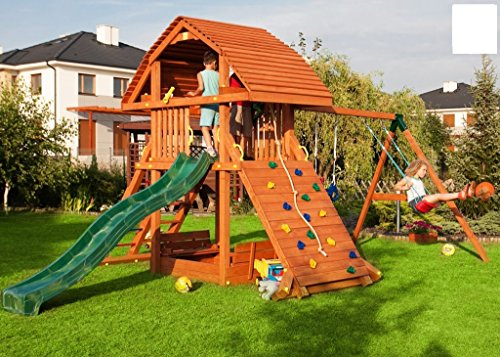 Fungoo Spielturm Giant-Move- Podesthöhe 145 cm mit 2,90 m Rutsche und Doppelschaukel