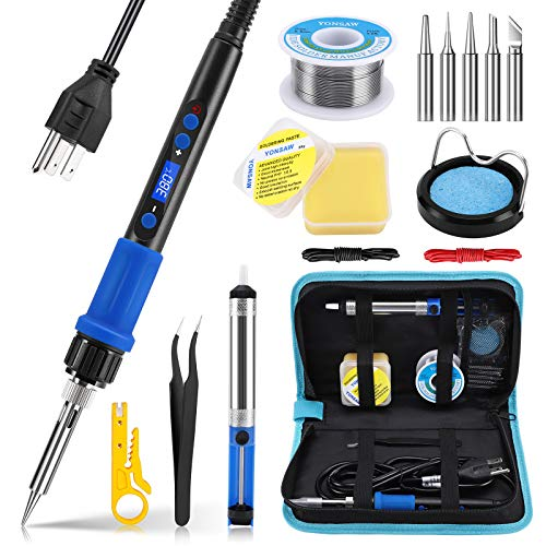 Soldering Iron Kit, Soldering Kit 60W Electronics Soldering Iron LCD Digital Adjustable Temperature On Off Switch Soldering Gun Solder Kit and Welding Tool with Solder Wire Flux Solder Tips Carry Bag