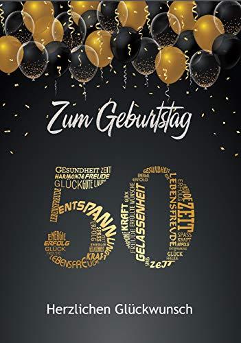 Elegante Glückwunschkarte Geburtstag Geburtstagskarte mit Nummer und Glückwünschen Schwarz Gold (50. Geburtstag)