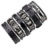 Symphonyw Black Leather Bracelet,6PCS Unisex Adjustable Multilayer Skull Braided Leather...