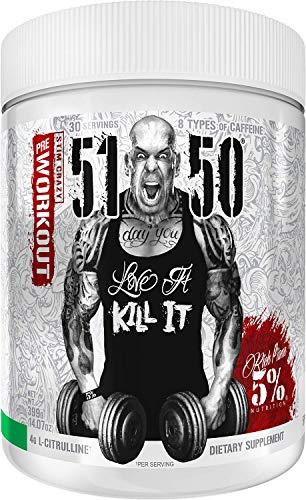 Rich Piana 5% Nutrition 5150 High Stim Pre-Workout Powder   Extreme Energy, Focus, Pumps & Endurance   400 mg Caffeine, Citrulline, Beta Alanine, N-Acetyl L-Tyrosine   30 Srvgs (Green Apple)