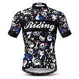 Weimostar Maillot de Ciclismo Hombres Ropa de Bici Maillot de Bicicleta Top Mountain Road MTB Jersey Camisa Manga Corta Equipo Ropa Deportiva Blanco Negro XL
