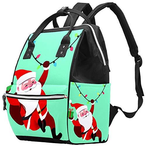 TIZORAX Swinging Santa Claus Diaper Bag Travel Mom Bags Nappy Backpack Large Capacity for Baby Care