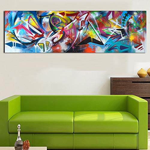 N / A The Picture on The Canvas Living Room Wall is Decorated with Abstract Oil Painting of The Bedroom Dining Room Frameless 35x105cm