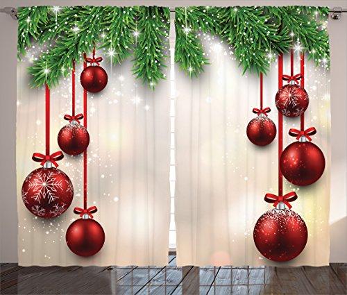 Ambesonne Christmas Curtains, Xmas Traditional Winter Season Theme Fir Twigs and Vibrant Balls Graphic Print, Living Room Bedroom Window Drapes 2 Panel Set, 108' X 84', Vermilion Green