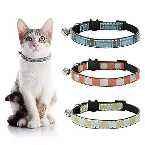 Eastlion Collar de Gato Cuero con Campana,Ajustable Hebilla Seguridad Liberacion Rapida,Collar Collares Gato Gatito Perrito,Amarillo+Rojo+Azul1,18-27cm(3 Piezas)