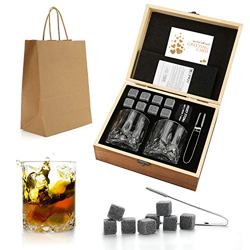 Set de regalo de Whisky Stones and Glasses, Whiskey Rocks Chilling Stones en una caja de madera hecha a mano - Bebidas frescas sin dilución - Whisky Glasses Set of 2, Gift for Dad, Husband, Men