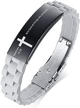 MEALGUET Black Religious Quote Faith Christian Bible Verse Inspirational ID Wristband Cross Bracelets for Men Dad