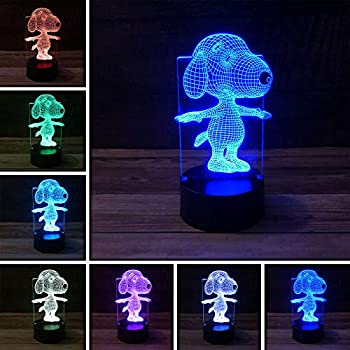 PMS 3D LED Peanuts Snoopy Touch Sensor Lamp with USB 7 Color Change Night Light Desk Kids Bedroom Decor Gift Holiday