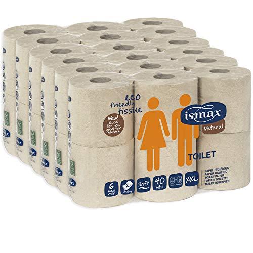 Papel Higiénico Baño Rollo Wc Pack 36 unidades 158 gr/uni 6 Paquetes Eco Reciclado - Rollos Water 2 Capas 320 Servicios Ecologico Natural XXL