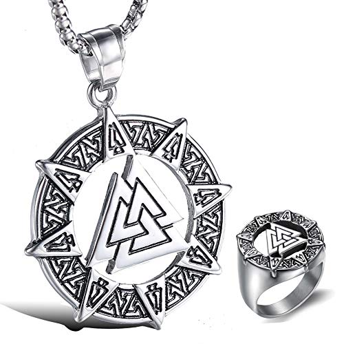 Men Stainless Steel Viking Necklace and Rings, Norse Mythology Odin Symbol Valknut Rune Pendant Amulet, Unisex Celtic Pagan Charm Jewelry,8