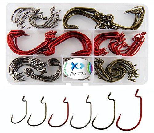 Jshanmei Fishing Hooks Wide Gap Worm Hooks 2X Strong High Carbon Steel