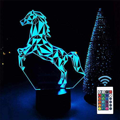 Luz de noche LED Caballo A Nightlights Tres Patrón y 16 Color Cambio Decoración Lámpara para Niños y Habitación Decoración