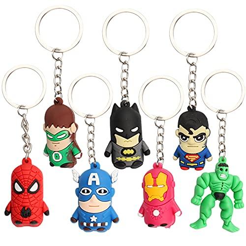 Gxhong Avengers Porte Clef Super-hero Keychain Spider Man, Batman, Superman, Iron Man, Captain America, Hulk, Green Lantern Mini Figures Porte Cle pour décoration de fête, Cadeaux d'anniversaire, 7PCS