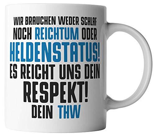vanVerden Tasse - THW Heldenstatus Technisches Hilfswerk - beidseitig Bedruckt - Kaffeetassen, Tassenfarbe:Weiß