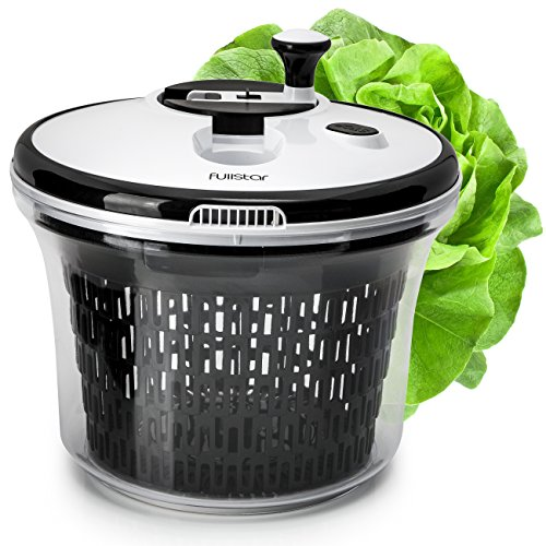 Salad Spinner Lettuce Dryer Large with Bowl and Colander Basket. BPA Free Clear Plastic Kitchen 5L Spinners