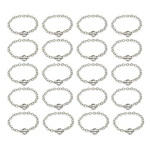 JZK 20 x Pulsera cadena con cierre de palanca de plata para hacer joyas, pulseras de amistad para mujeres y adolescentes unisex, pulsera bisutería para regalos favores de fiesta recuerdo