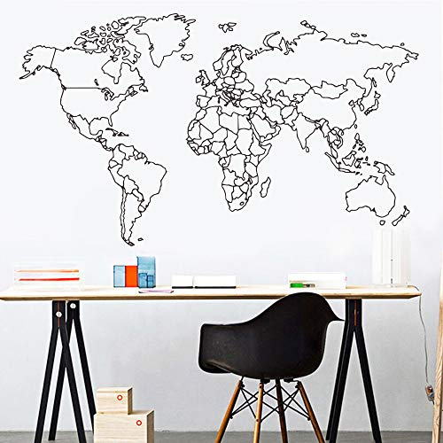 Mapa del mundo moderno etiqueta de la pared para el dormitorio decoración habitaciones de los niños Diy decoración de la habitación vinilo arte calcomanía murales de papel de pared a 100x58 cm