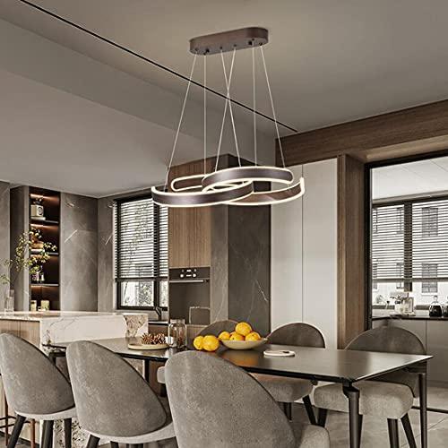 Marrón LED Lámpara de colgante plafón Sala de estar Comedor Lámpara Aluminio Acrílico Pantalla 40+40cm Ronda Diseño anillo Lámpara de Araña para dormitorio Cocina Bar Estudio Luz de techo luz cálida