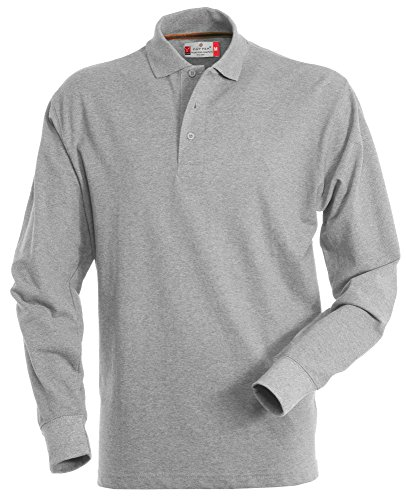 PAYPER Herren Langarm Polohemd Baumwoll Piquet Hockey, Grau Grey-heather, XL