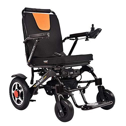 51OibMco8ML - AMITD Silla De Ruedas Eléctrica,Vitality Plegable Wheelchair Ligera De La Aleación De Aluminio Silla,Conduzca con Potencia O Yell como Silla De Ruedas Manual,Asiento de Forty five cm