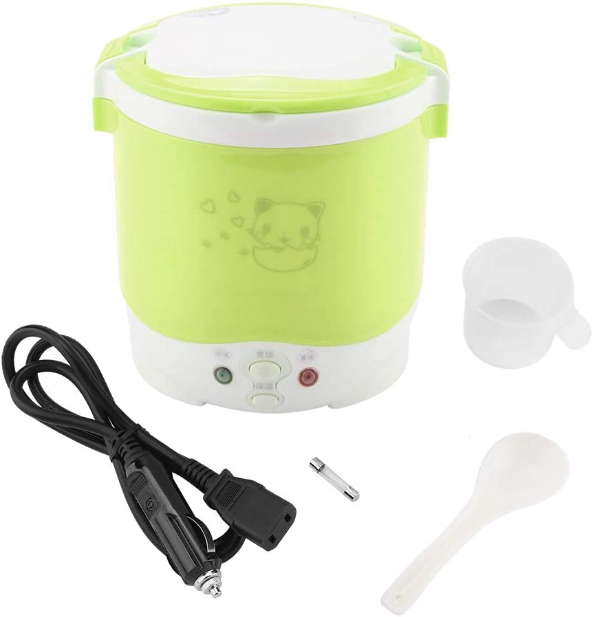 ROSEBEAR 12V 100W 1L Electric Portable Multifunctional Rice Cooker Food Steamer for Cars (Green)