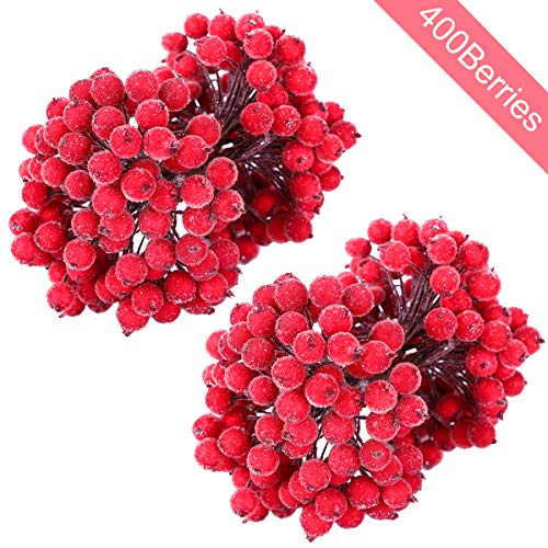 MELLIEX 400pcs Künstliche Blumen Beeren Rote Gefrostet Beerenzweige Weihnachten Beere Künstliche Mini Holly Berry Deko