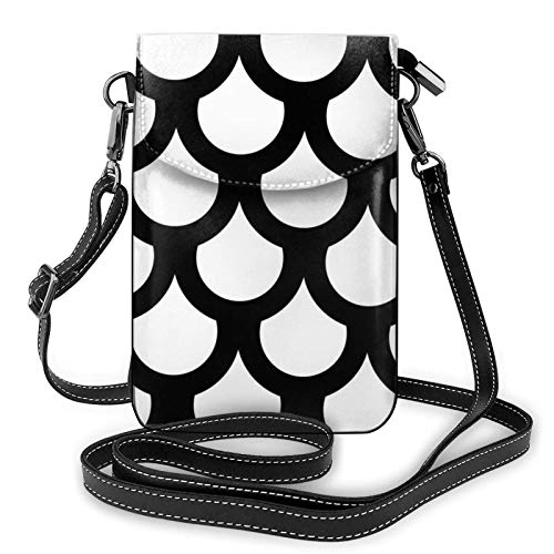Lightweight Pu Leather Cell Phone Purse,Mermaid Fish Scales Small Crossbody Bags Shoulder Bag Wallet Pounch Handbag For Women