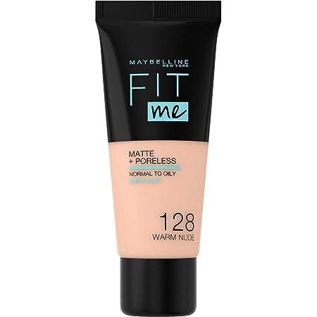 Maybelline New York, Base de Maquillaje que Calca a tu Tono Fit me! Mate y Afinaporos, Color: 128 Warm Nude