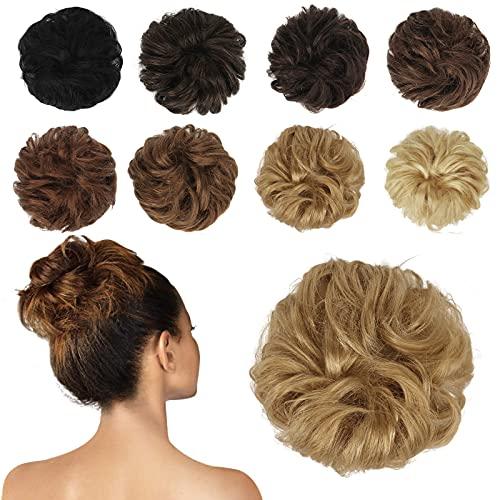FESHFEN 100% Echthaar Haarteil Haargummi, lockige haarteile Haarknoten Haargummi Hochsteckfrisuren unordentlich dutt Haarteil Echthaar Haargummis für Damen Mädchen, Honigblond