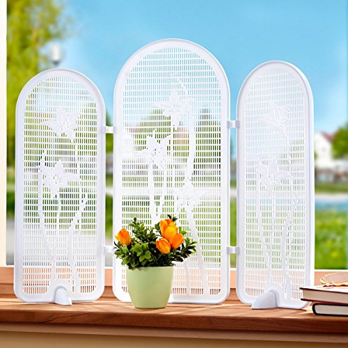 Unbekannt Mini-Sichtschutz Blumen, Sichtschutz mit Gittermuster & Blumen | Raumteiler Gestaltungselement, Kunststoff, 52 x 43 cm