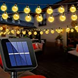 Solar String Lights Globe 39 Feet 68 Crystal Balls Waterproof LED Fairy Lights 8 Modes Outdoor Starry Lights Solar Powered String Light for Garden Yard Home Party Wedding Decoration (Warm White)