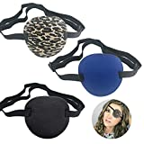 3 PCS Pirate Eye Patches, Adults Medical Eye Patch Adjustable Amblyopia Lazy Eye Patches for Adults and Children, 3 Color
