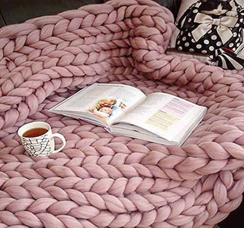 Ruber Handgefertigtes Chunky Gestrickte Wolldecke, Überwurf Mode Sofa Decken Yoga Matte Teppich Große Weiche Tagesdecke, Yoga Matte Teppich,Rosa,120 * 150cm