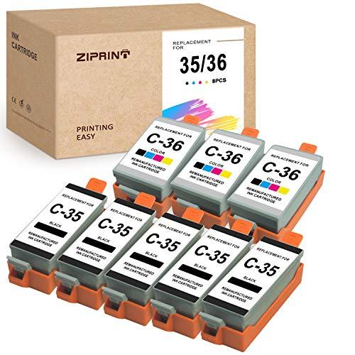 ZIPRINT Compatible Ink Cartridge Replacement for Canon 35 36 PGI-35 CLI-36 use for Canon Pixma iP100 iP110 Mini260 Mini320 TR150 (8-Pack)