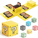 Games Storage Case for Nintendo Switch - Video Game Card Holder Protective Storage System Game Card Organizer Travel Container Box Hard Shell with 16 Game Card Slots (Question Block Yellow)
