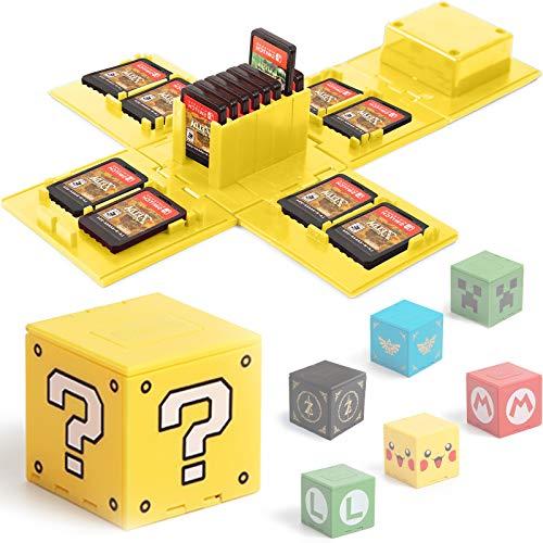 BAYINBROOK Funda de Juego, Compatible para Nintendo Switch Compatible con hasta 16 Juegos de Nintendo Switch Organizador de Tarjeta de Juego Contenedor de Viaje (Bloque de Preguntas Amarillo)